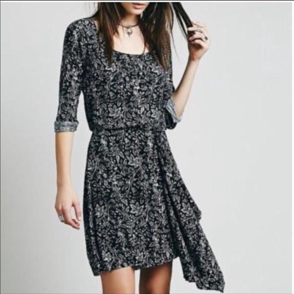 Free People Dresses & Skirts - Free People Floral Dress Asymmetrical Scoop Back L